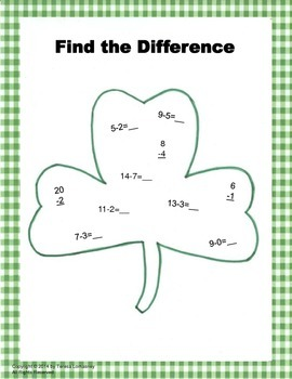 St. Patrick's Day Shamrock Math Color Sheet Fun!