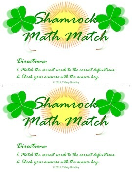 Shamrock Math Match: Vocabulary Game for Mode, Median, Box Plot, Histogram, etc.