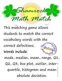 Shamrock Math Match: Vocabulary Game for Mode, Median, Box Plot, Histogram, etc.