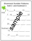 Shamrock Math  Number Patterns Add Subtract 3  March, St.