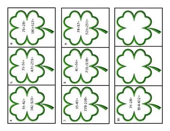 Shamrock Math Scavenger Hunt Task Cards