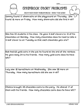 Shamrock Math Story Problems--2-Digit Addition and Subtrac