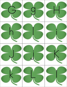 Shamrock Memory Game Letters and Numbers