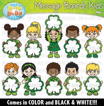 Shamrock Message Boards Kids Clipart {Zip-A-Dee-Doo-Dah Designs}