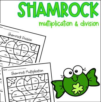 Shamrock Multiplication Division Color by Number