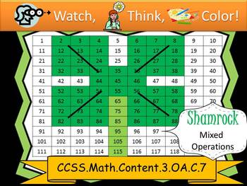 Shamrock Multiplication Practice - Watch, Think, Color! CCSS.3.OA.C.7