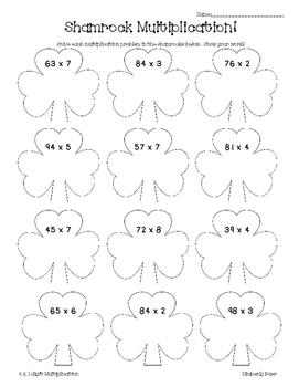 Shamrock Multiplication Math Practice Worksheet--Multiplying 2 x 1 digit