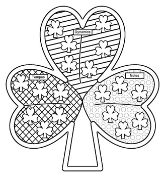 Shamrock Music Symbols Coloring Page and Instructions
