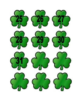Shamrock Numbers for Calendar or Math Activity