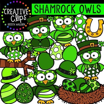 Shamrock Owls {Creative Clips Digital Clipart}