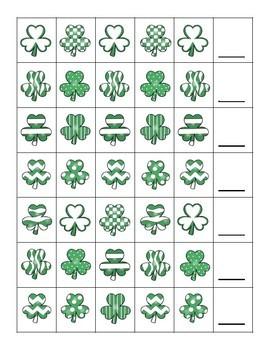 Shamrock Pattern Cards FREEBIE