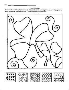 Shamrock Pattern Challenge St. Patrick's Day Art Sub Plan