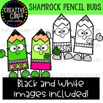 Shamrock Pencil Buds: St. Patrick's Day Clipart {Creative Clips Clipart}