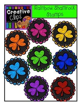 Shamrock Rainbow Stamps {Creative Clips Digital Clipart}