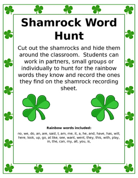 Shamrock Rainbow Word Hunt