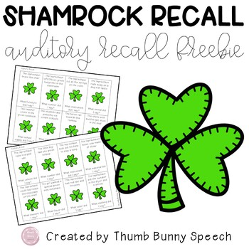 Shamrock Recall - St. Patrick's Day Auditory Recall