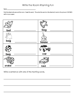 Shamrock Rhyming Write the Room Activity