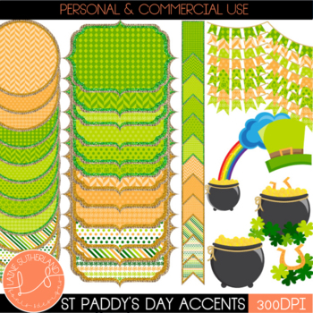 St Patrick's Day Clip Art - Shamrock & Roll Digital Page Accents