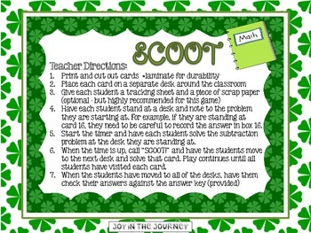 St. Patrick's Day Double-Digit Subtraction Scoot
