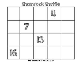 Shamrock Shuffle Kindergarten Number Grid Puzzles (1-20)