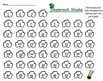 Shamrock Shake Math and Literacy Game Board Set