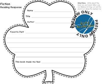 St. Patrick's Day Shamrock Shaped Reading Response Sheets for Any Book
