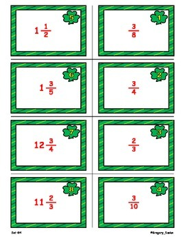 Shamrock Shenanigans Game Cards (Add & Subtract LIKE Fractions) Sets 4, 5, 6