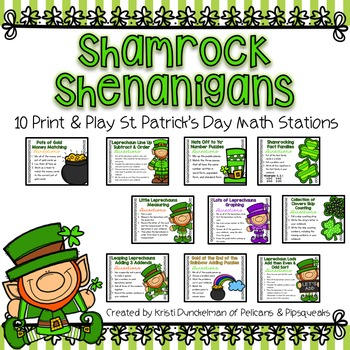 St. Patrick's Day Print & Play Math Stations