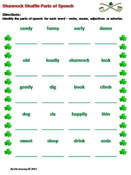 St. Patricks Day / Shamrock Shuffle  - Parts of Speech