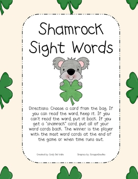 Shamrock Sight Word Game