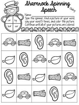 Shamrock Spinning Speech: Phonology Activities