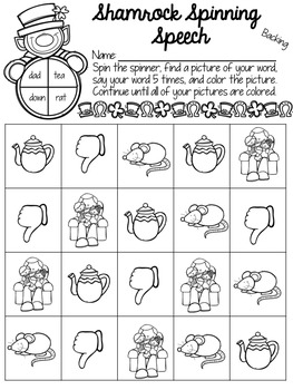 Shamrock Spinning Speech: Phonology Activities
