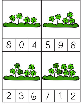 Shamrock St. Patrick's Day Count and Clip Cards