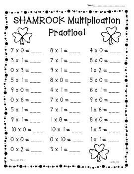 Shamrock / St. Patrick's Day Multiplication Practice Worksheets - 0's - 10's