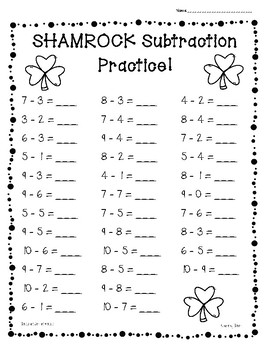 Shamrock / St. Patrick's Day Subtraction Practice - 4 Leve