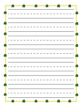 Shamrock St. Patrick's Day Yellow Border Primary Lined Paper