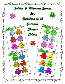 Shamrock St Patrick's Memory Folder Center Activity Color Number Shapes Pattern