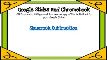 Shamrock Subtraction-A Digital Math Center (Compatible with Google Apps)