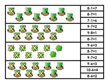 Shamrock Subtraction Clip Cards