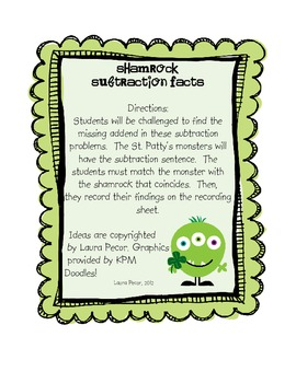 Shamrock Subtraction Facts