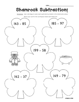 Shamrock Subtraction - Math Leveled Practice for Subtracting 2 and 3 Digits