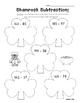 Shamrock Subtraction - Math Leveled Practice for Subtracti