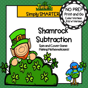 Shamrock Subtraction:  NO PREP Spin and Cover Game