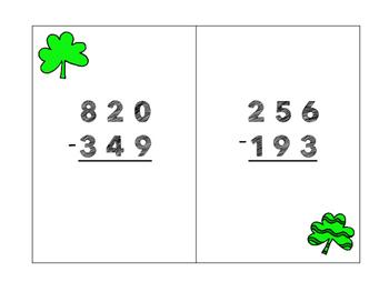 Shamrock Subtraction- multi-digit subtraction game