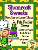 Shamrock Sweets Greater Than Less Than File Folder Game