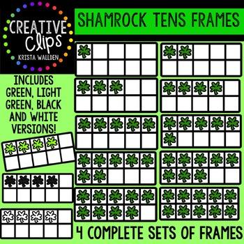 Shamrock Tens Frames {Creative Clips Digital Clipart}