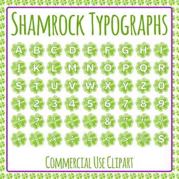 Shamrock Typographs - Letters / Tiles / Characters Clip Art Set Commercial Use