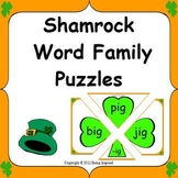 Shamrock Word Family Puzzles - CVC word literacy center for St. Patrick's Day