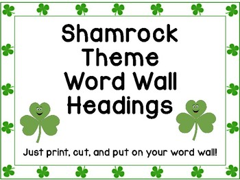 Shamrock Word Wall Letters