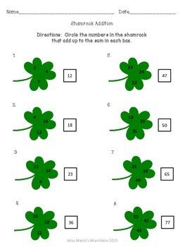 Shamrock addition- 1st grade St. Patrick's Day activity
